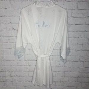 Bride The Mrs White Silky Lace Robe Bridal Wedding